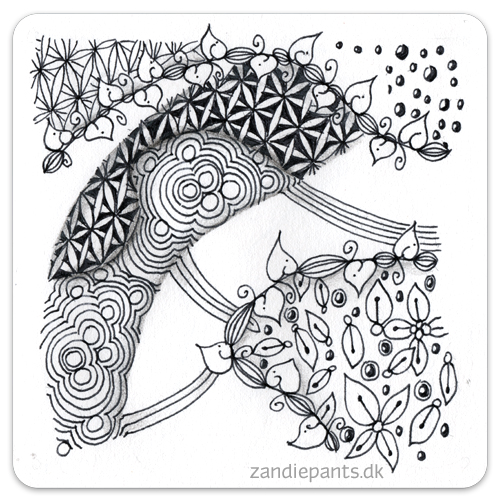 Ink, black pencil. Used Tangles: Leaf pod on a line, Disco, Go 4th 'n multiply. ©Zandiepants