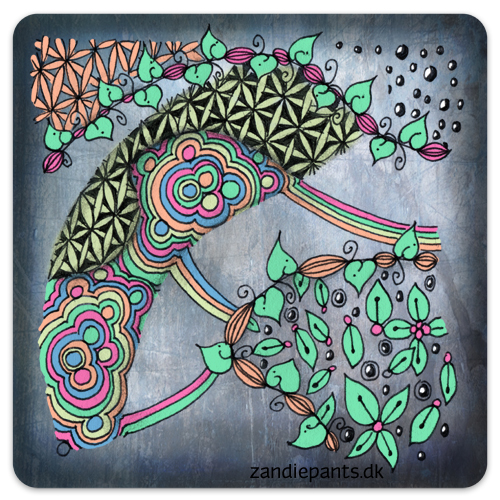 Ink, black pencil, digital color. Used Tangles: Leaf pod on a line, Disco, Go 4th 'n multiply. ©Zandiepants