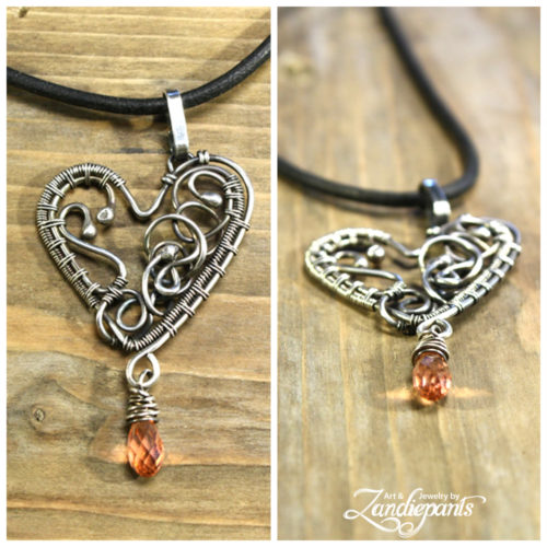 Silver (935) heart with dangling swarovski bead. ©Zandiepants